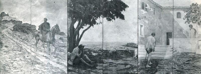 L'histoire du fils prodigue, par Eugène Burnand. Triptyque de la semeuse N° 1. Archives de la MPE, 47, rue de Clichy, 75009 Paris.