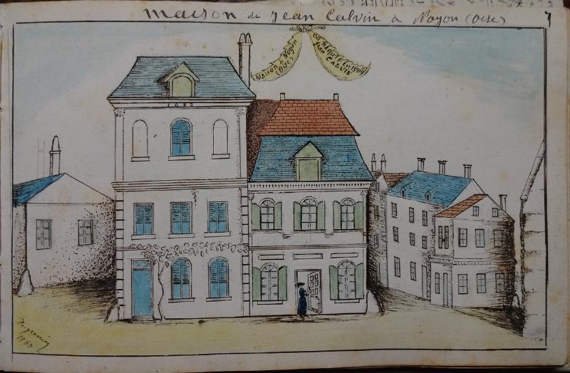 La maison de Jean Calvin à Noyon. Dessin à la plume et peinture de Jean-Frédéric Dugrenier (vers 1870)