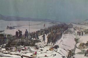 """Le désarmement de l'Armée de l'Est à la gare des Verrières. Détail du """"Panorama des Verrières"""", par Édouard Castres, exposé à Lucerne."""