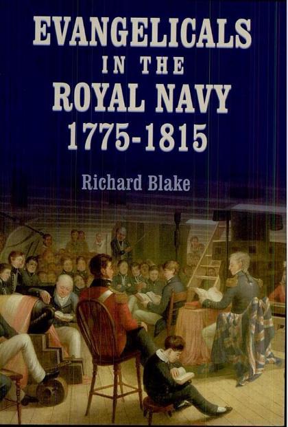 """En illustration de couverture de l'ouvrage """"Evangelicals in the Royal Navy"""", une représentation d'une réunion à bord d'un navire de guerre britannique à l'époque des guerres napoléoniennes. Elle se déroule dans l'entrepont (on remarque l'affut de canon, à gauche) et rassemble, au premier rang, des officiers et des midshipmen. Elle se déroule ici sous la présidence du commandant, qui dès lors qu'il est fervent, se voit doté de responsabilité spirituelle"""