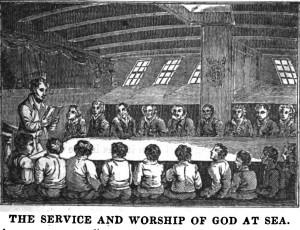"""Réunion religieuse à bord d'un navire. Magazine """"The Pilot"""", février 1835. Matelots et mousses sont assis de chaque côté de la table."""
