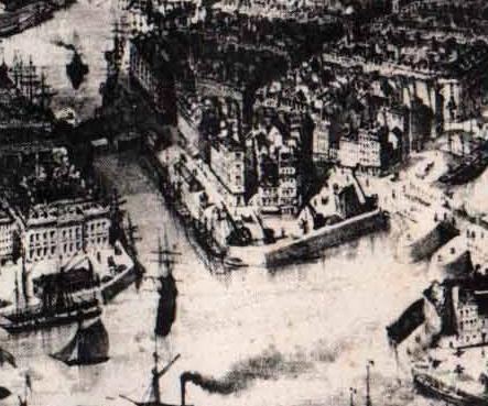 Au coeur du Havre, le quartier Saint-François en 1848. Au centre, le quai de l'Île