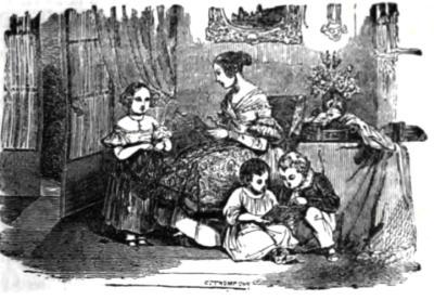 """La lecture de la Bible aux enfants au début du XIXe siècle. Vignette de l'ouvrage : """"Le Livre des familles chrétiennes"""", Société des Traités Protestants, Paris, 1849."""