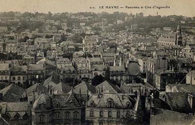 Le Havre vers 1900 : les quartiers du XIXe siècle. Au fond, les villas protestantes de la Côte d'Ingouville.