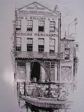 Old Swan wharf (le vieux quai du cygne), entrepôt du négociant Joseph Hardcastle, où les membres du comité de la Religious Tract Society envisagèrent en 1802 la création de la Société biblique.