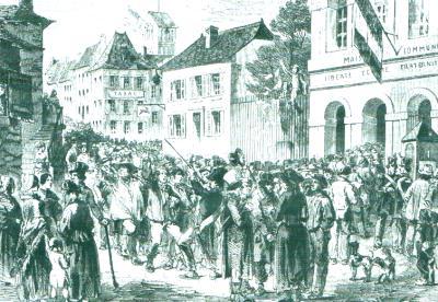 Avril 1848 : les premières élections au Suffrage Universel. Les hommes se rendent en colonne depuis les villages jusqu'au au chef-lieu de canton pour voter.