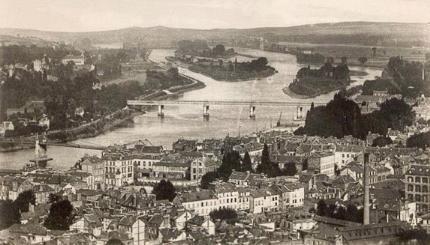 Elbeuf et ses ponts sur la Seine vers 1900