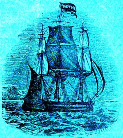 Un transport à voile arborant le pavillon Bethel approche d'une côte vers 1840.