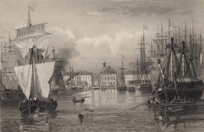 Le bassin du roi au Havre vers 1835.