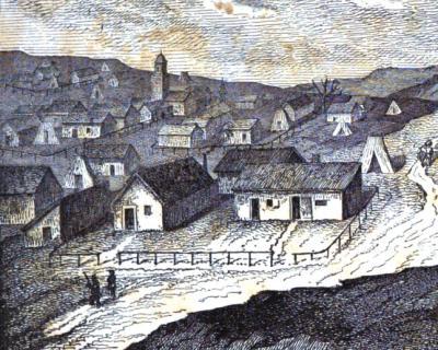 Les locaux de l'aumônerie protestante au camp de Sébastopol : le lieu de culte et le quartier de l'aumônier. C'est là que moururent Louis Chardon, le 7 mai 1855, et Henri Babut, le  23 mars 1856. Source : Max Reichard, Souvenir d'un aumônier protestant, p. 9.