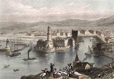 L'entrée du Vieux port vers 1835 (gravure coloriée ancienne)