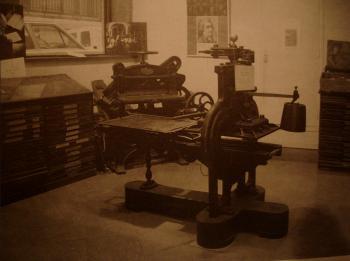 Presse Stanhope utilisée avec les plaques stéréotypes. Musée de l'imprimerie Poullaillerie à Lyon. Cliché Frachet.