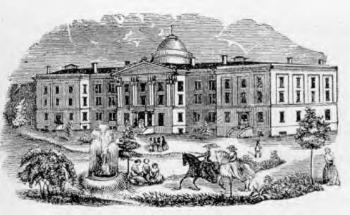 Le Cleveland Female Seminary. Gravure de présentation vers 1870. On remarquera, à la vue des jeunes filles chevauchant, montées en amazone dans le parc, que cette gravure s'adresse à des milieux aisés...