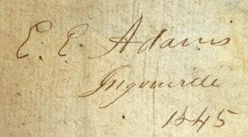 Autographe du pasteur E.E. Adams. Ingouville, 1845.  Flickr.