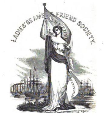 Allégorie de la branche féminine de la Société des Amis des Marins (1846). On remarquera l'association du pavillon Béthel, de la constitution des USA, et d'un personnage féminin évoquant la liberté, avec en toile de fond une vue d'un grand port américain.