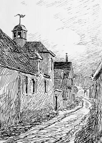 La maison de Mme Née à Marsauceux (dessin de 1911, Henri Lehr, op. cit, p. 501)
