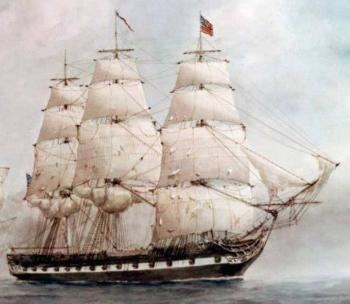 La frégate USS United States, construite en 1797, était le premier navire de guerre américain de ce tonnage. Il s'illustra à de nombreuses reprises (ici, détail d'un tableau représentant son combat contre le Macedonian en 1812). Mais ce navire transporta aussi les Bibles du pasteur Hastings !