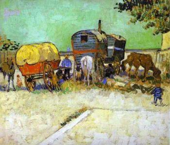 """Vincent Van Gogh, """"Campement de Bohémiens"""" près d'Arles, 1888. Musée d'Orsay. Image Wikicommons."""
