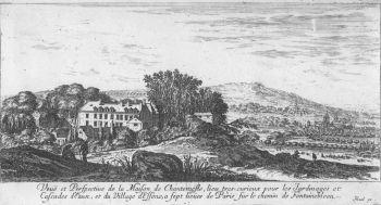 Une vue du château de Chantemerle à Essonnes au XVIIIe siècle, avant la construction des ateliers industriels.