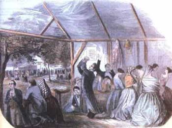 """Réunion de Réveil aux USA. L'illustration représente une scène de """"camp meeting"""" d'été en forêt, réunions très prisées par les Méthodistes"""